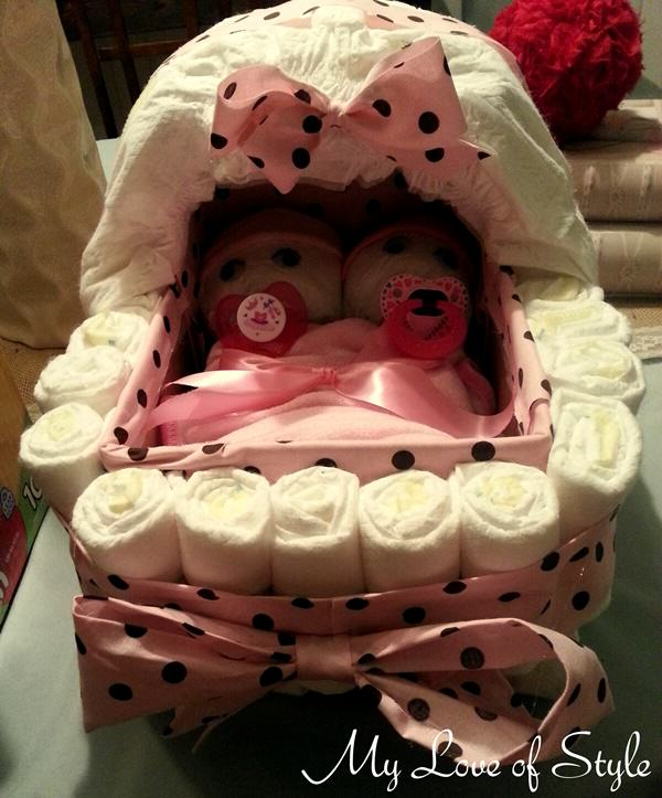 Bassinet Diaper Cake with Twins