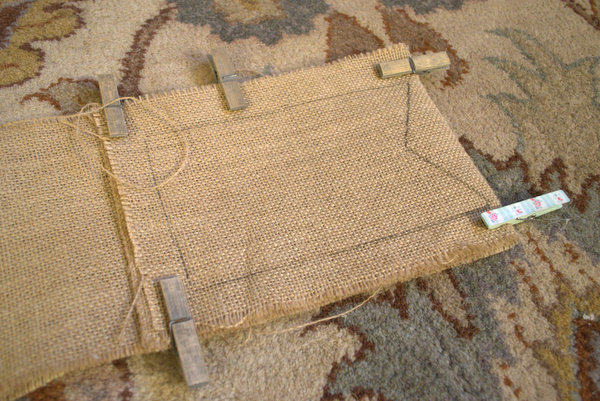 Pin Two Pieces of Burlap together and cut out Flags