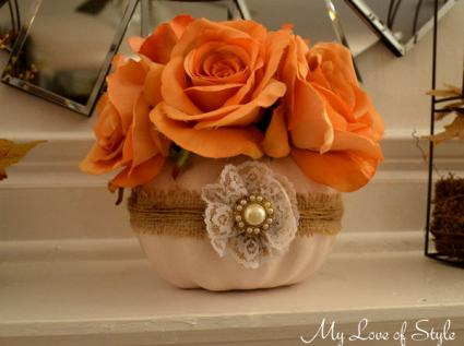 Fall Shabby Chic Pumpkin Centerpiece