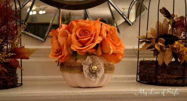 fall floral pumpkin centerpiece