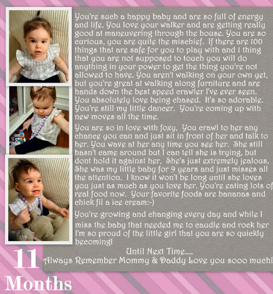 Baby Riley's 11 month letter