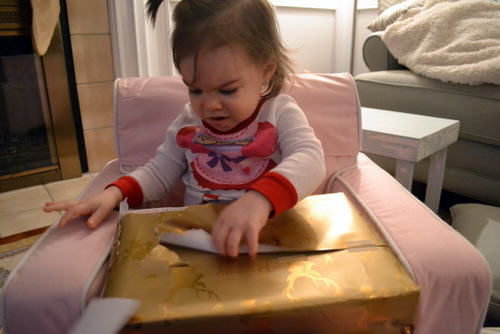 Riley opening her last gift