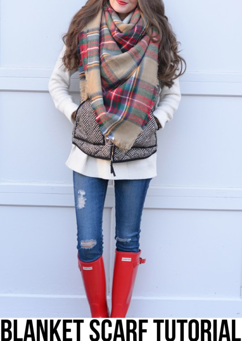 jeans, blanket scarf and rain boots