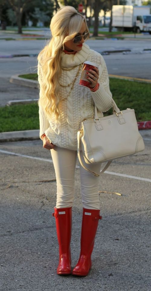 Red Rain Boots with Cream outfit