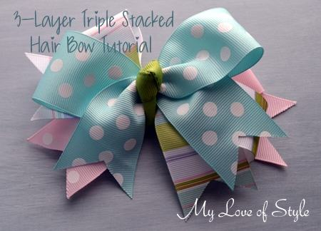3 Layer Triple Stacked Hair Bow Tutorial My Love Of Style