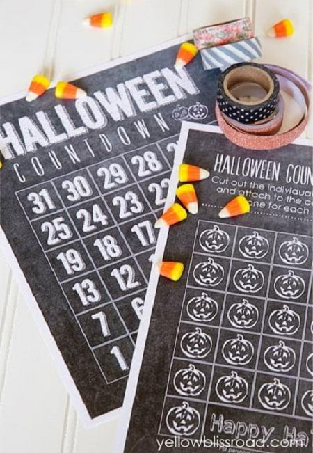 Free Halloween Printable Countdown Calendar