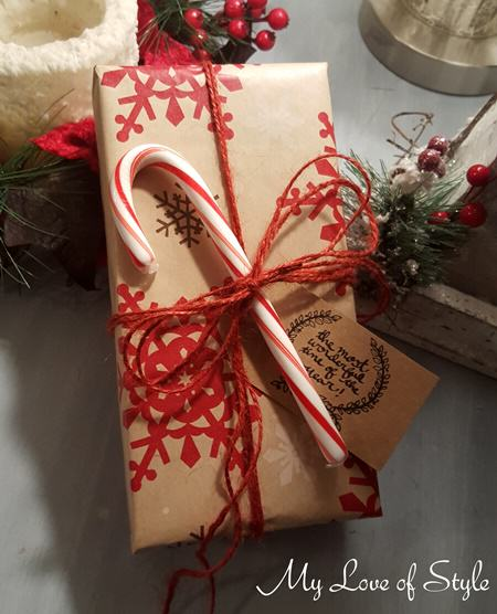 Rustic Candy Cane Gift Wrap Idea