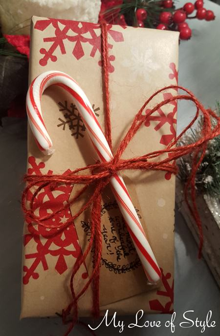 Rustic Candy Cane Gift Wrap