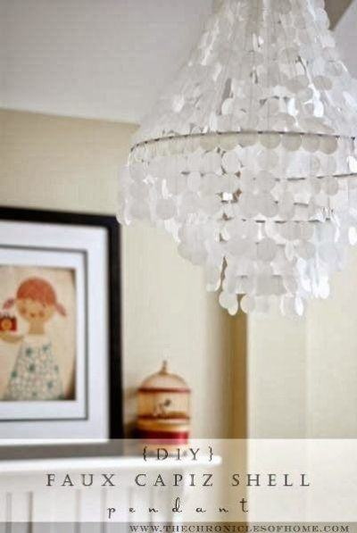 DIY Faux Capiz Shell Chandelier