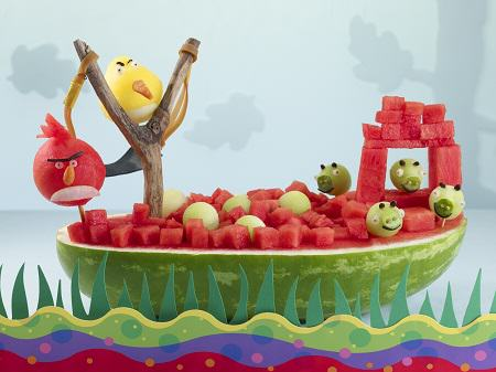 Angry Birds Centerpiece using a watermelon