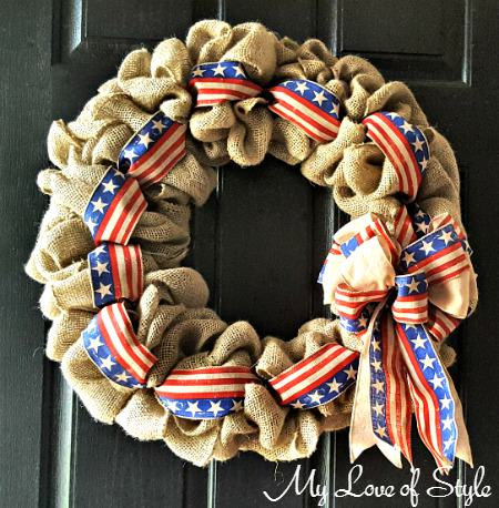 super easy diy burlap wreath with accent ribbon my love of style my love of style. Black Bedroom Furniture Sets. Home Design Ideas