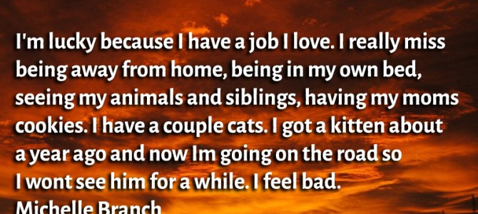I'm lucky because I have a job I love