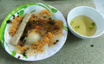 Banh Beo, Banh It, Banh Nam, Banh Bot Loc, and Cha (pork rolls)
