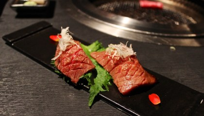 Lightly grilled marbled beef sushi