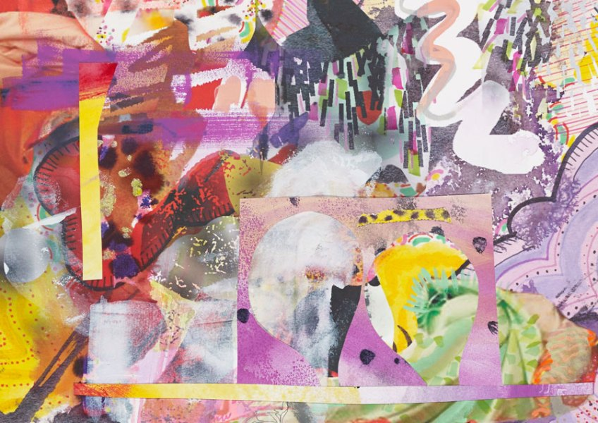 """Anything Sacred, 2014, mixed media and digital collage on Rives BFK, 26"""" x 20"""""""