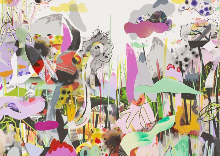 """This landscape, This Place, 2014, mixed media and digital collage on Rives BFK, 24"""" x 35"""""""