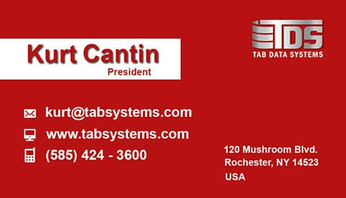 Tab Business Card Template Simple Red Front