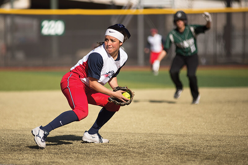Junior second baseman Brooke Lovas looks to make a play after fielding a ground ball in the 6-3 win over Adams State Feb. 20 at The Regency Athletic Complex. The Roadrunners went 3-1 in home opening weekend. Photo by Abreham Gebreegziabher • agebreeg@msudenver.edu