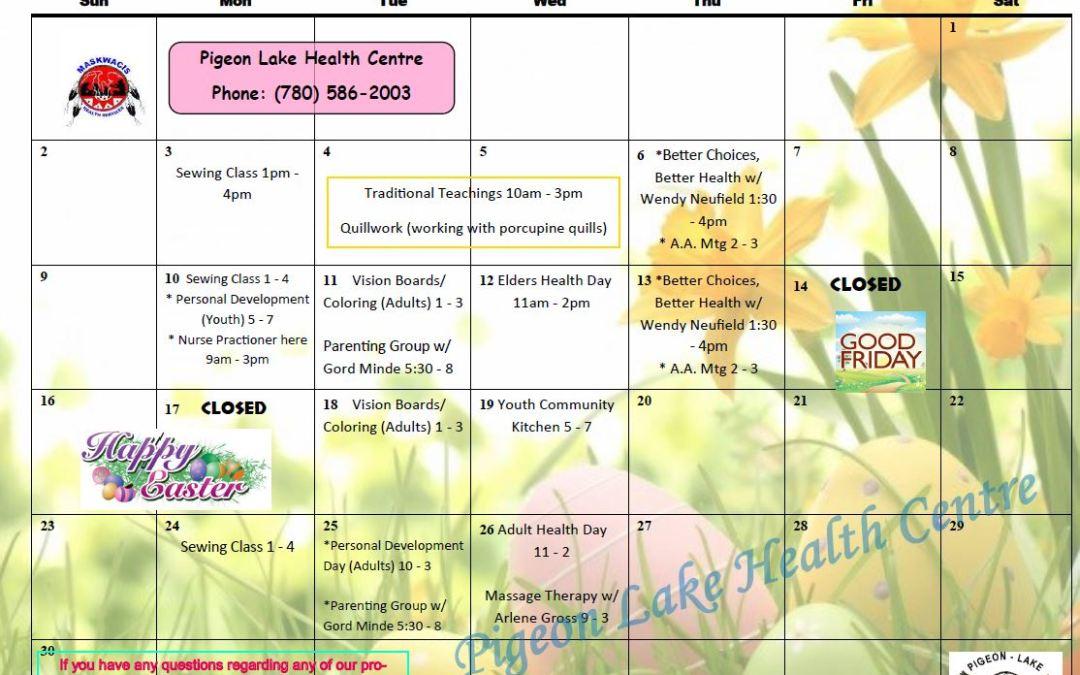 Pigeon Lake April Calendar