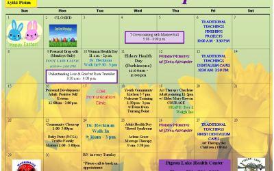 Pigeon Lake Health Center April Calendar