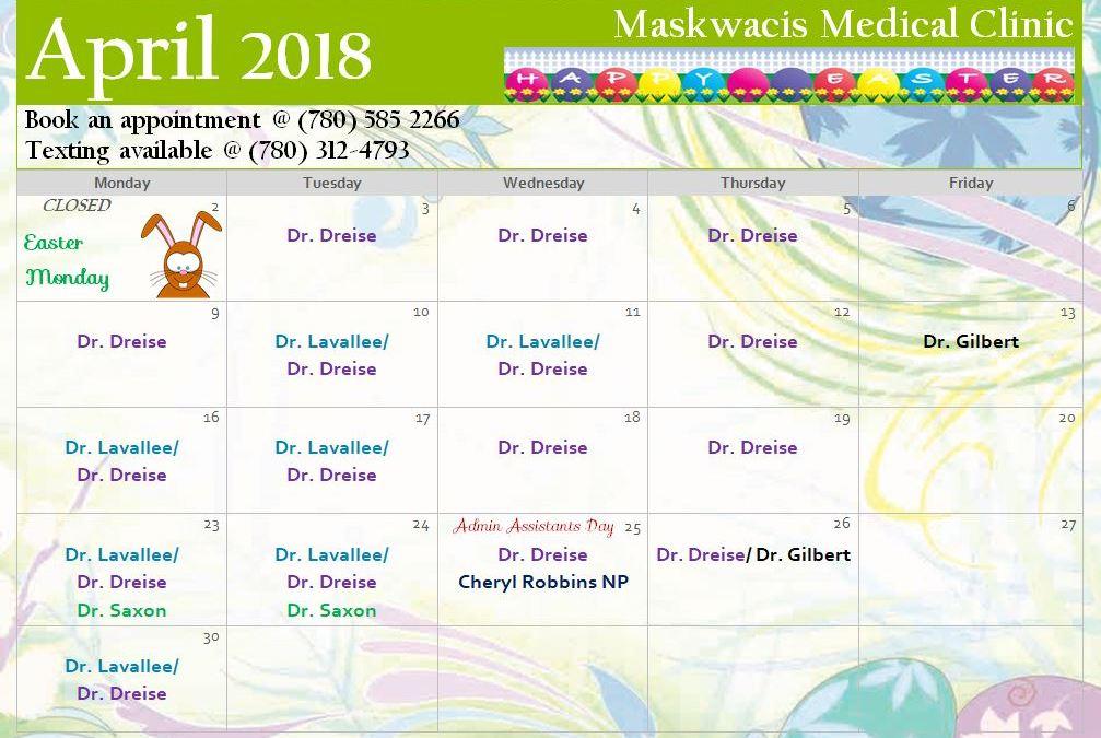 April 2018 Medical Calendar