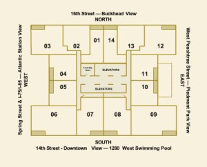 1280 West Building Floor Plan of Units