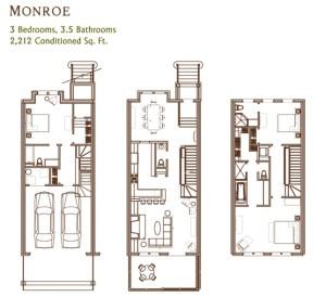Ansley Parkside Townhomes Monroe Floorplan