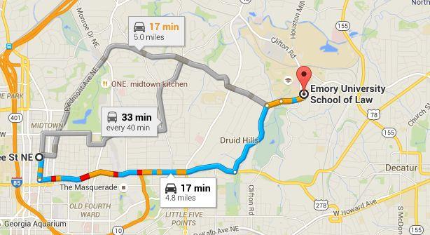 Midtown Atlanta Map to Emory University May 15, 2015