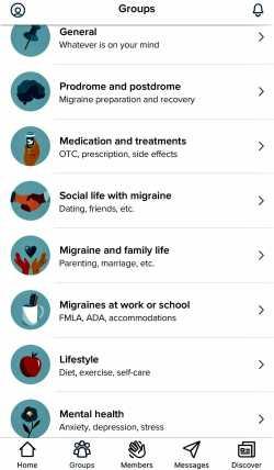 Healthline Migraine app groups