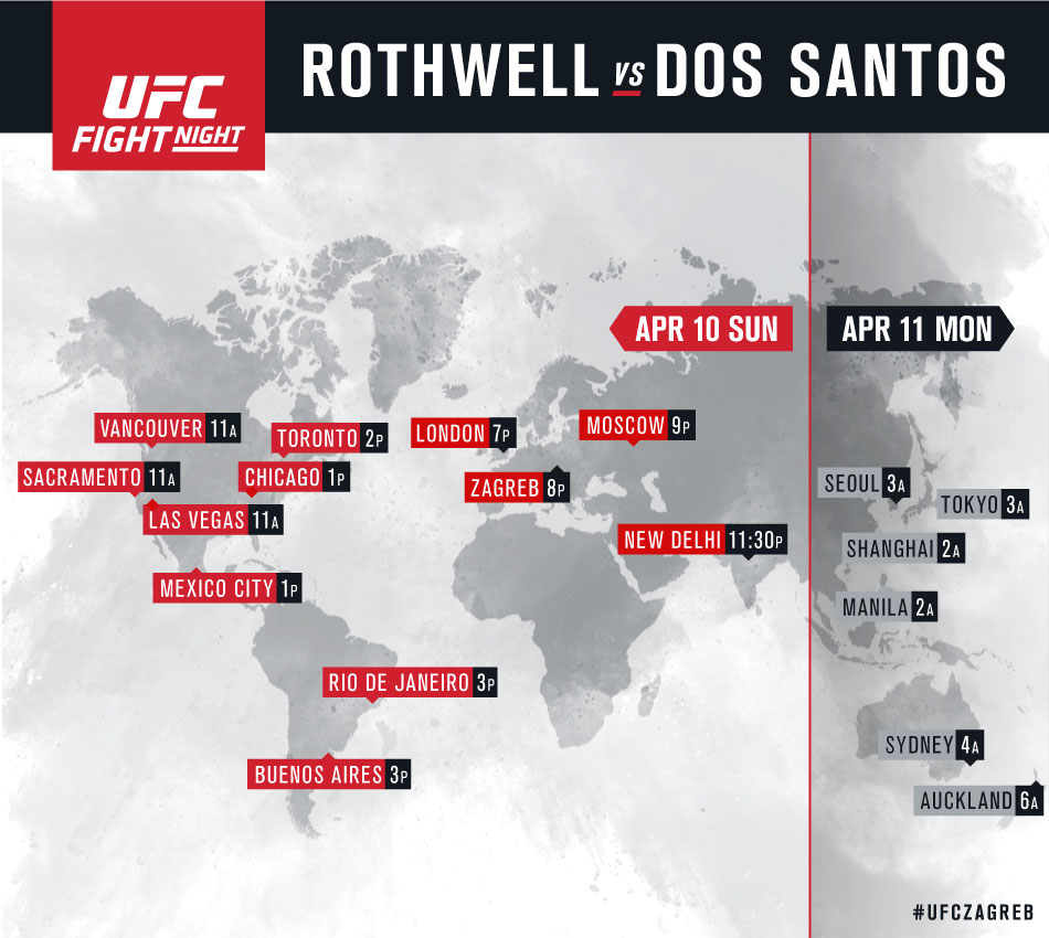International listings for UFC Fight Night Zagreb