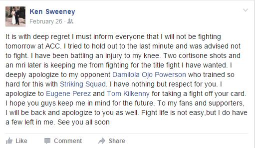 Ken Sweeney's Facebook post