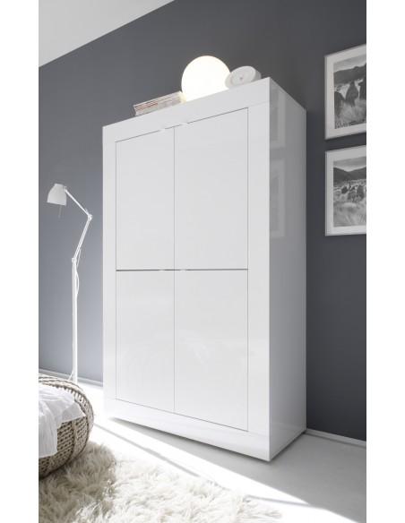 meuble 4 portes blanc laque brillant anthracite napoli