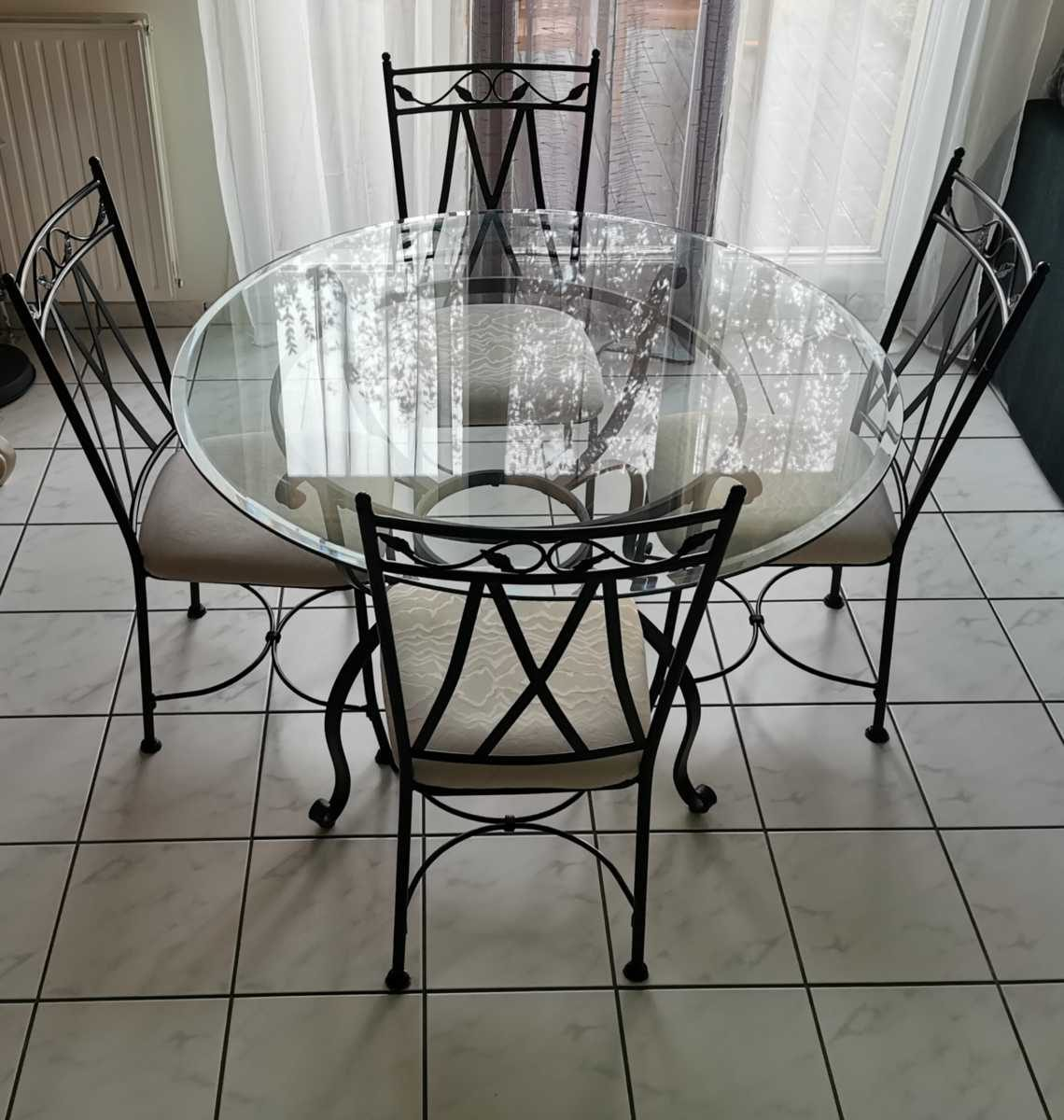 table verre fer forge
