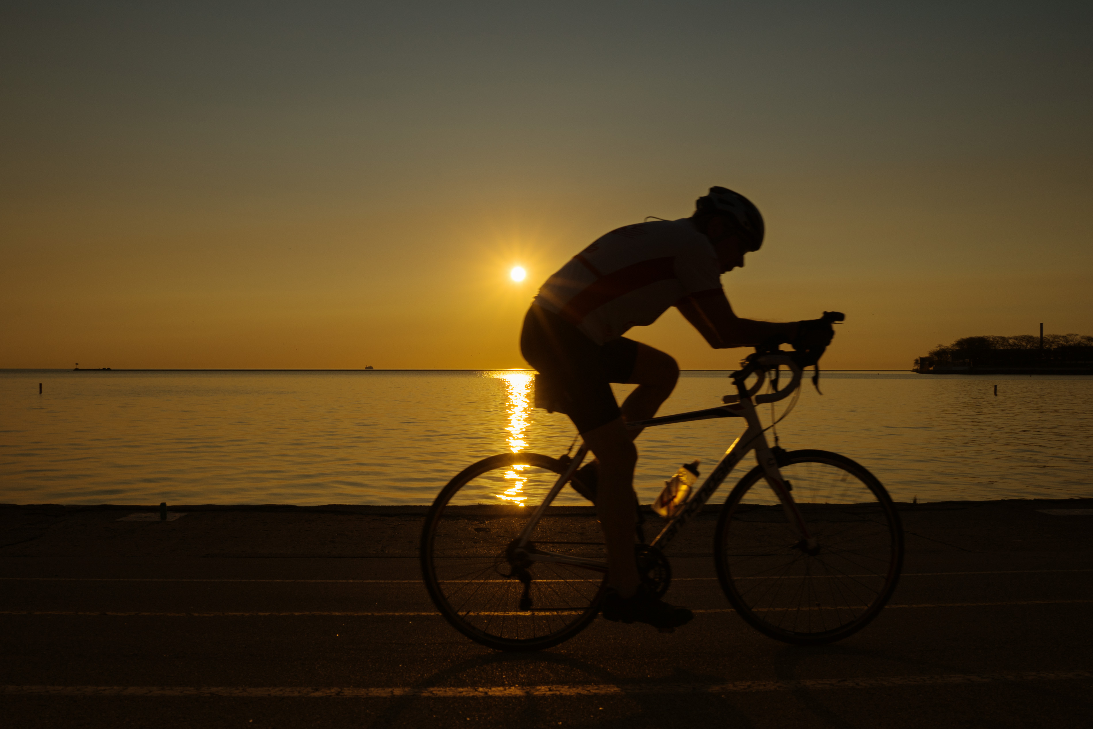 Chicago Lakeshore Sunrise Biker silhouette
