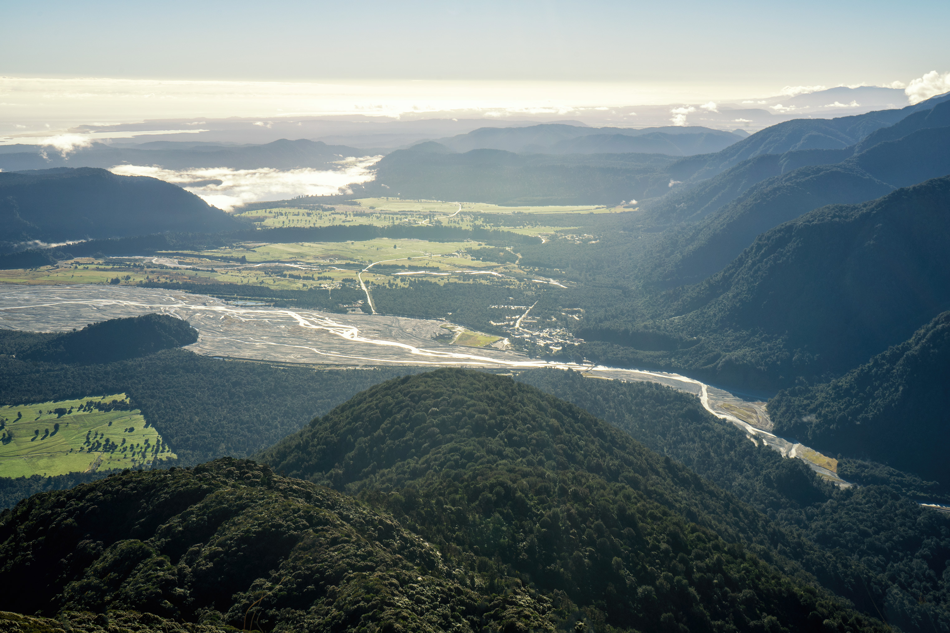 Franz Josef Glacier Alex Knob Track View Of Town And Waiho River At Sunrise