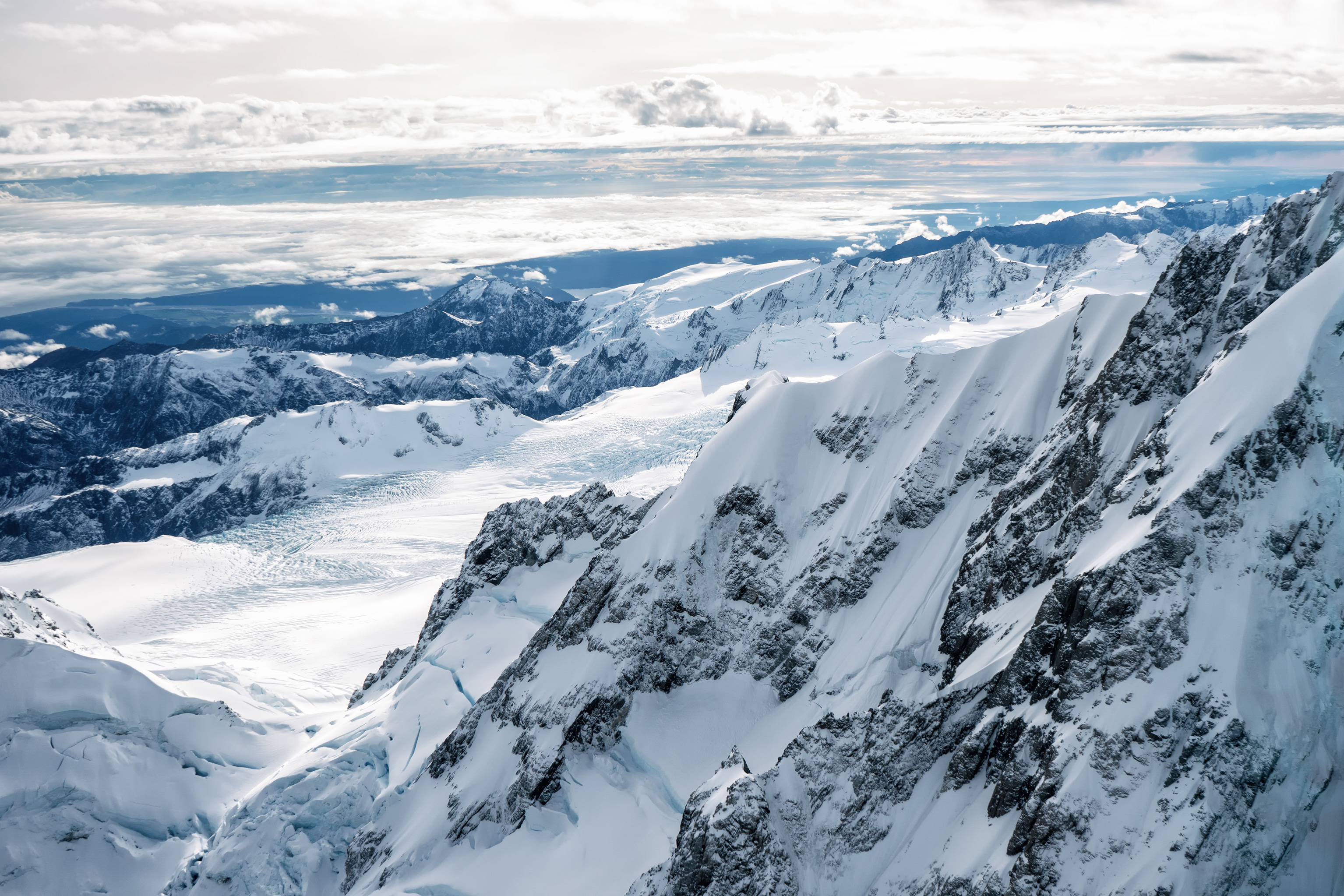 Southern Alps From Above Mountain Range View