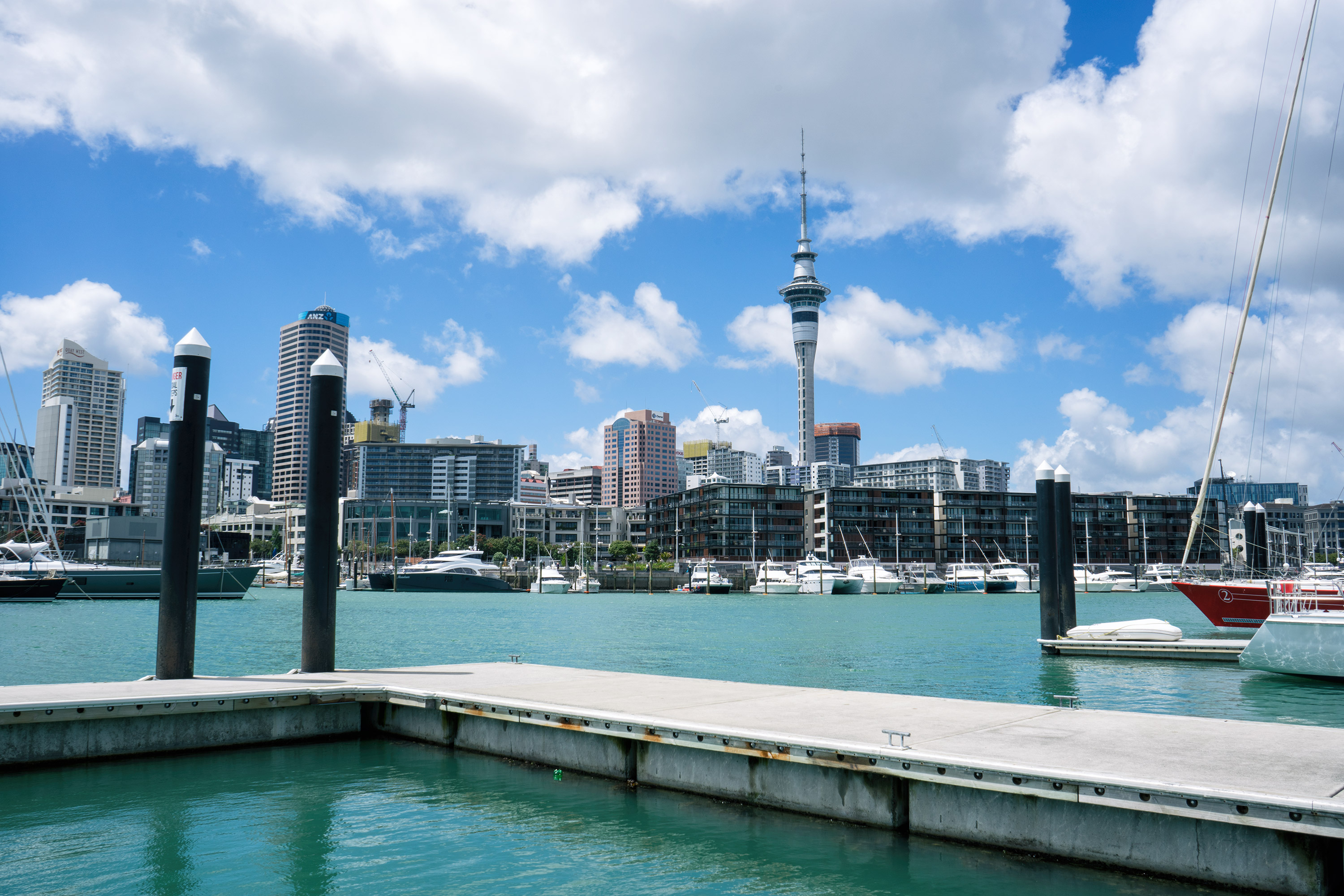 Auckland Skyline View And Sky Tower From Wynyard Quarter Waterfront