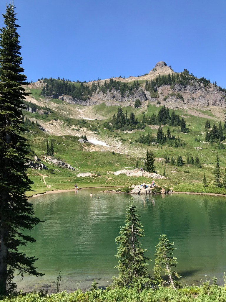 The view across the lake to Naches Peak.