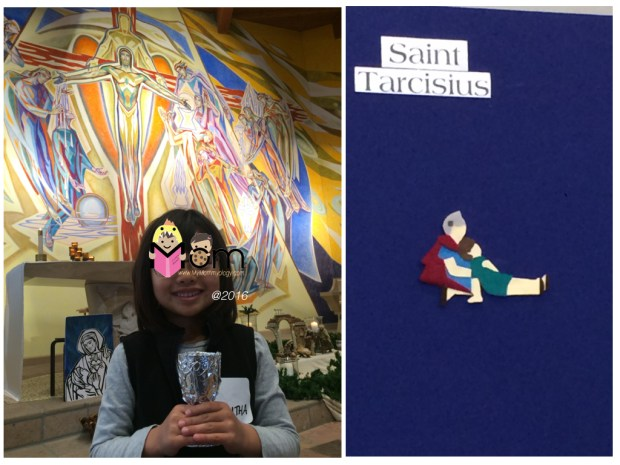 Left: Beautiful background mural of the sacraments.   Right:  We learned about St Tarcisius, the patron saint for all First Communicants.