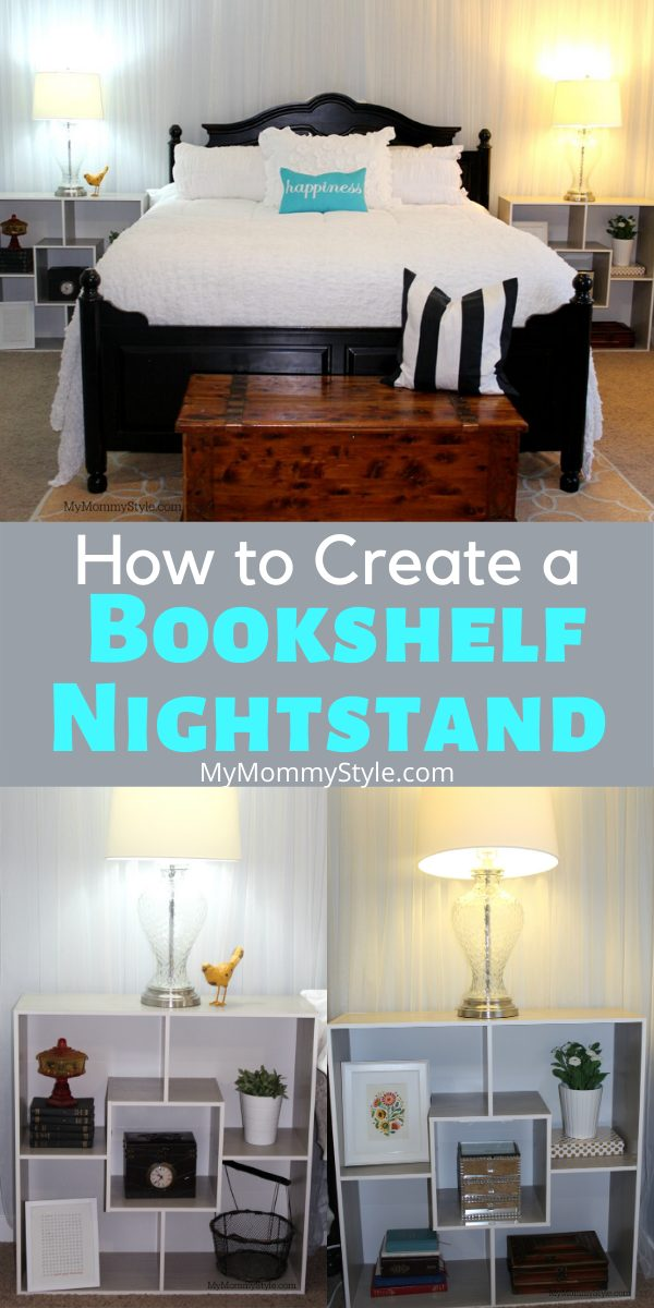 Discover the benefits of creating a bookshelf nightstand for your bedroom. They are affordable, offer functionality and add beauty to your space! #bookshelfnightstand via @mymommystyle