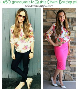 floral blouse, ruby claire boutique, giveaway, mymommystyle.com