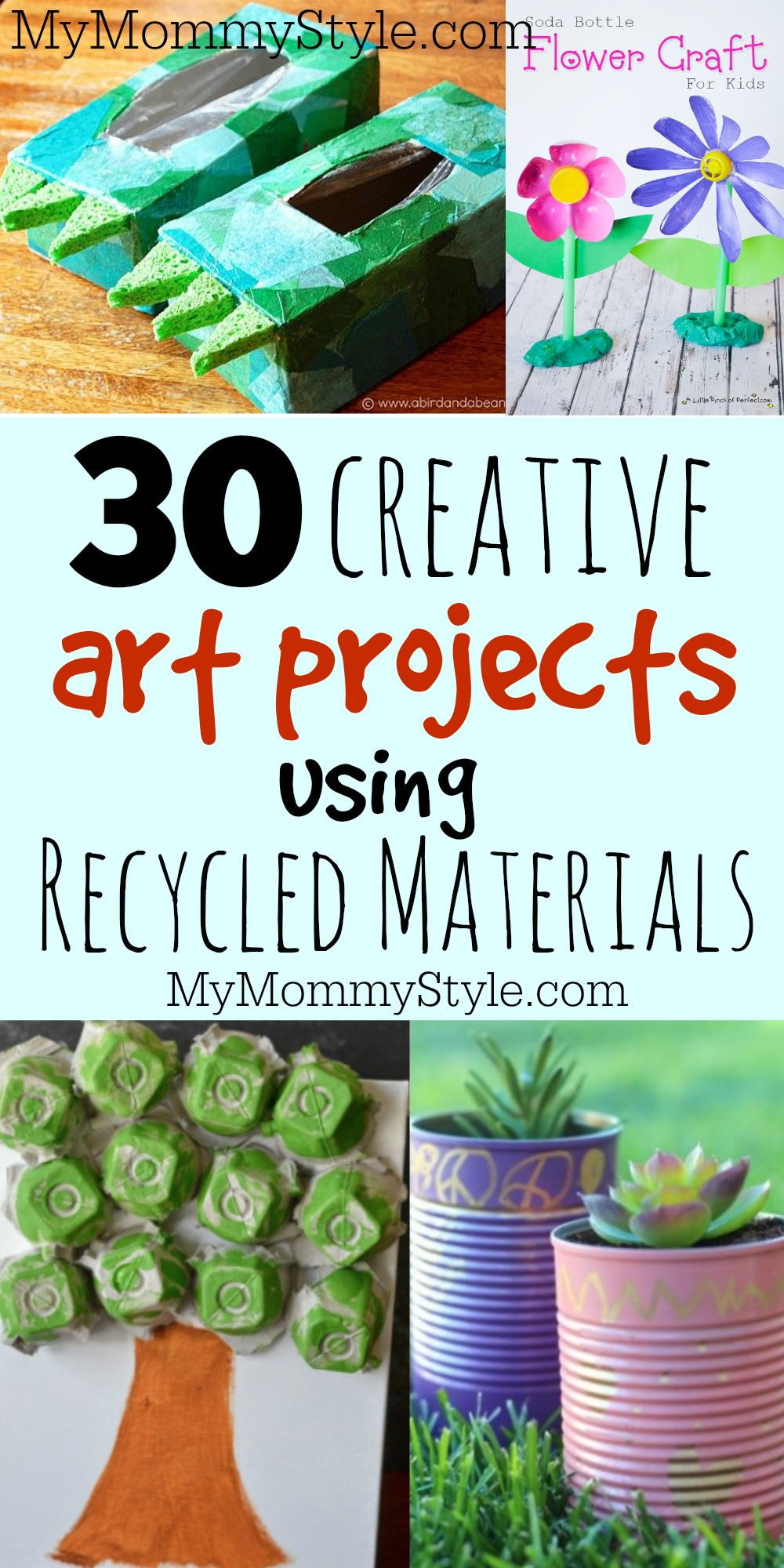 Skip the store and find supplies around the house to make these recycled art projects. 30 creative ideas will keep your kids busy crafting for a long time. via @mymommystyle