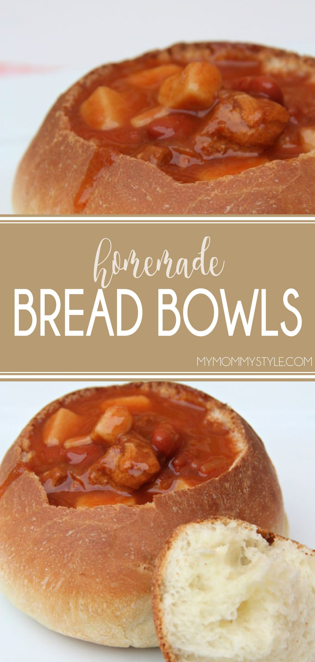 Every once in a while I like to serve the soup in a tasty bread bowl. This recipe makes 5 good sized bowls that are soft and chewy on the inside and crisp on the outside and sturdy enough to hold any of your favorite soups or stews. via @mymommystyle