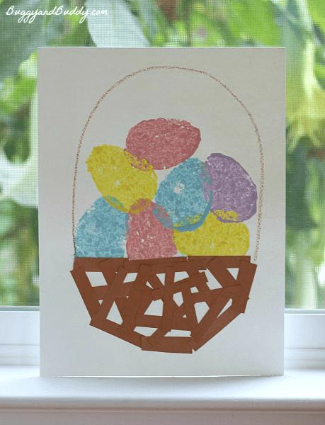 Sponge stamp easter basket