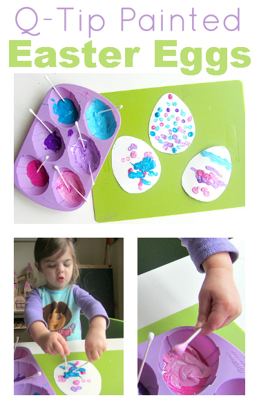 q tip painted easter eggs