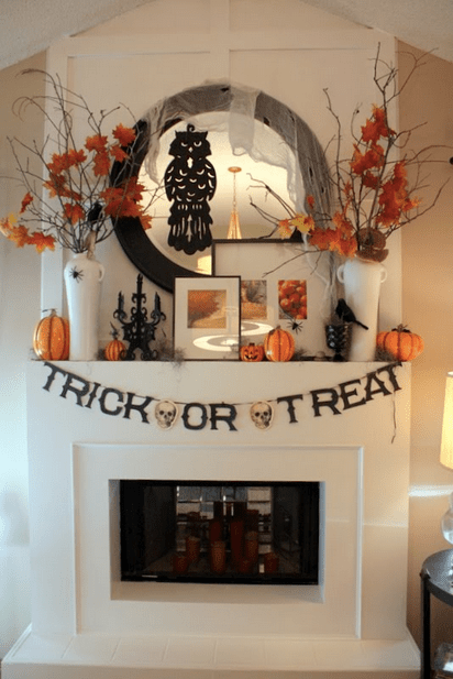 Trick or Treat banner Halloween Mantel