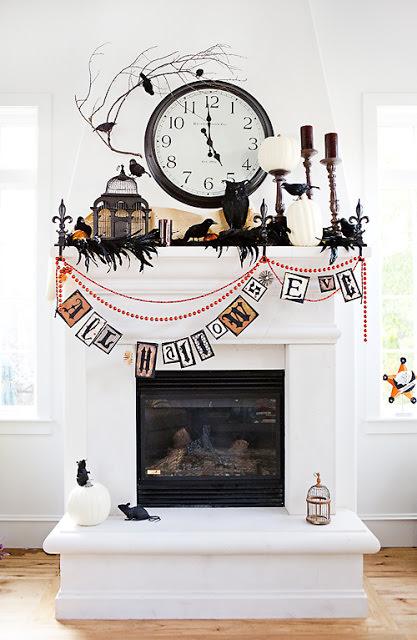 White and Black Halloween Mantel.