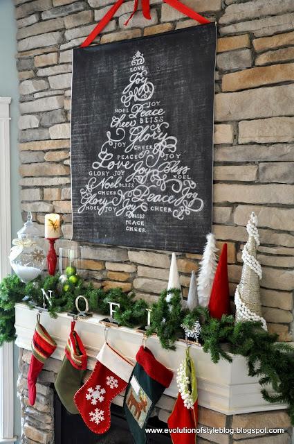 Chalkboard christmas mantel