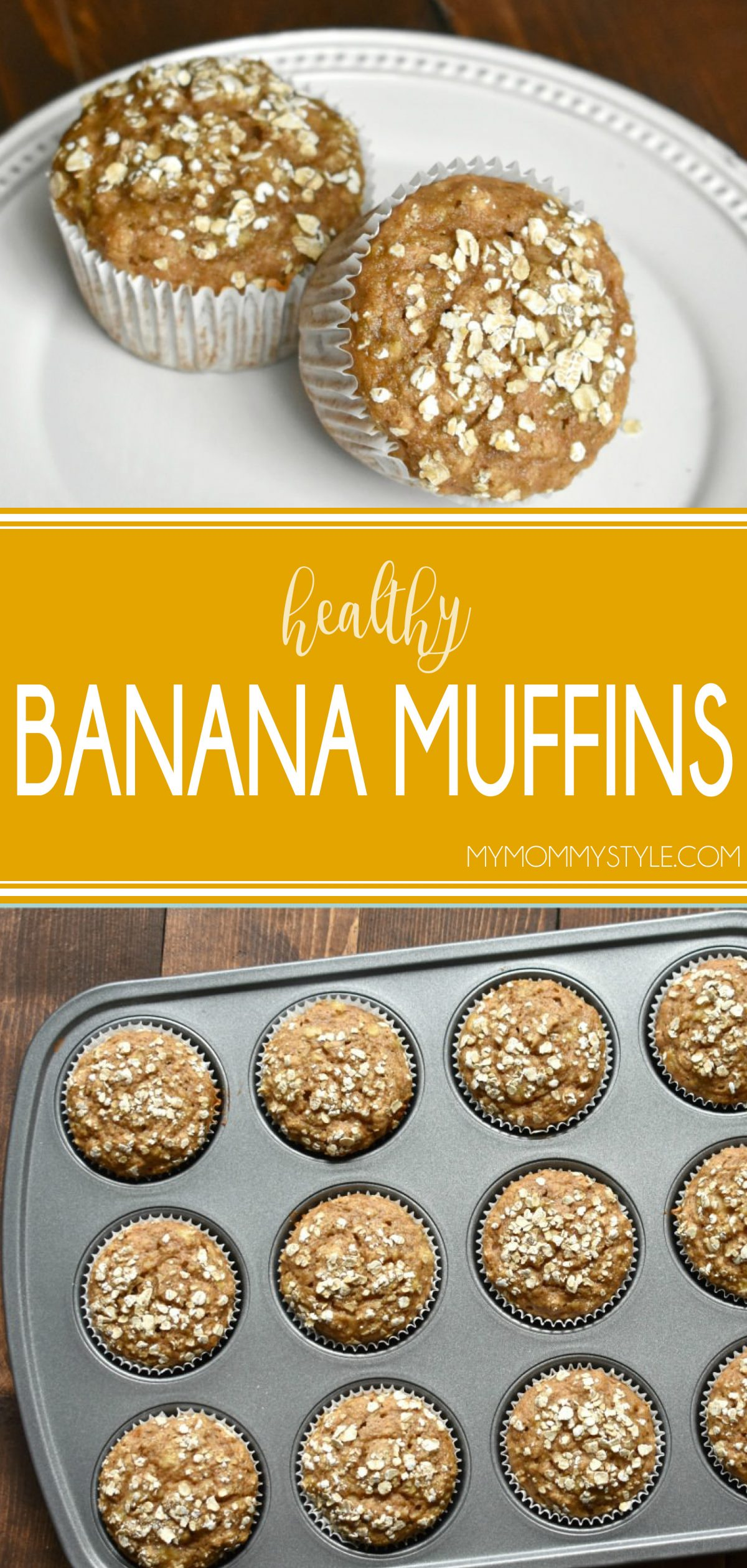 These banana muffins are made with less sugar, no oil, whole wheat flour and rolled oats. They have more fiber and are more filling and they have much less fat. via @mymommystyle