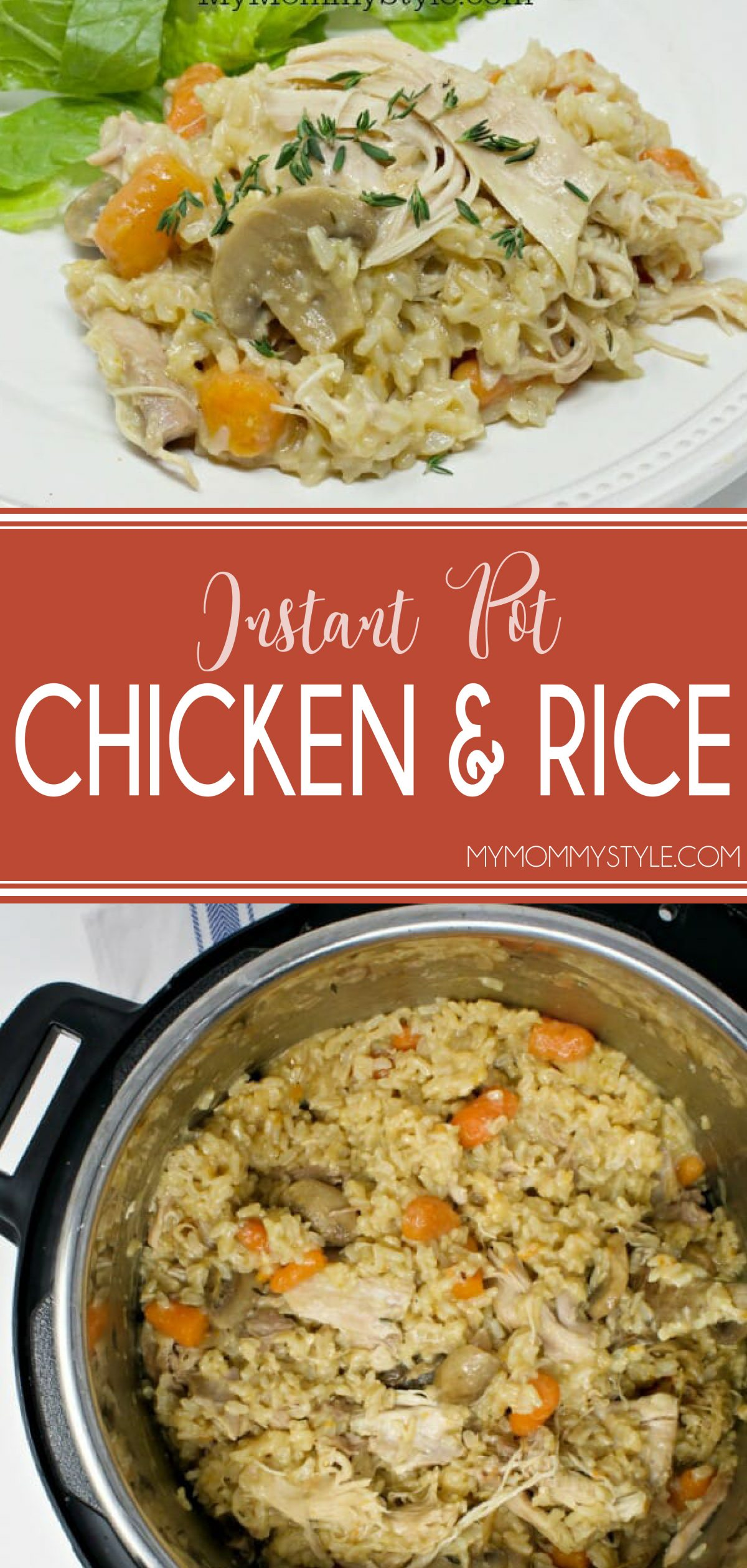 This Instant Pot chicken and brown rice is so simple and turns out perfectly every time. Ultimate comfort food in less time than the oven version. via @mymommystyle